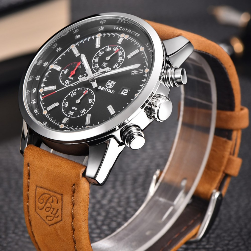 Benyar reloj hombres Sport mens relojes Top marca de lujo Militar cronógrafo reloj de cuarzo reloj impermeable Relogio Masculino