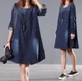 2016 spring and autumn women's loose dress plus size clothing long-sleeve denim one-piece dress vestidos