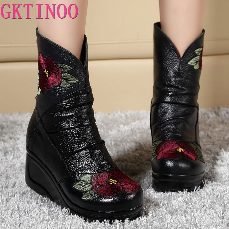 GKTINOO Embroidered Fashion Women Winter Genuine Leather Boots Handmade Vintage Slip resistant Boots Wedges Shoes Woman