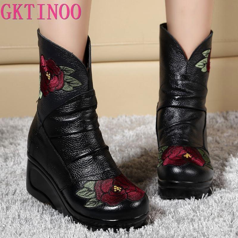 Ayakk.'ten Diz Altı Çizmeler'de GKTINOO Işlemeli Moda Kadınlar Kış Hakiki Deri Çizmeler El Yapımı Vintage kayma Önleyici Bot Takozlar Ayakkabı Kadın'da  Grup 1