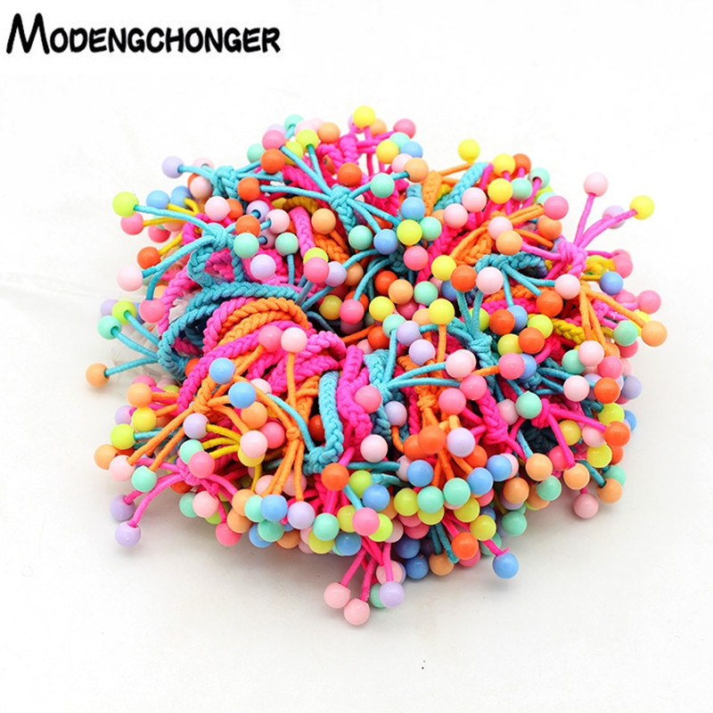 10PCS/Lot Lovely Small Beads Hair Ties Hand-knitted Knotted Elastic Hair Band Bow Ponytail Hair Rope For Kids Hair Accessories