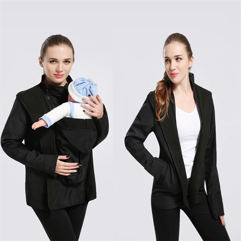 Pregnancy Windproof Blouses Shirts Maternity Pregnant Zipper Casual Clothes Daddy Chen Baby Carrier Kangaroo Warm