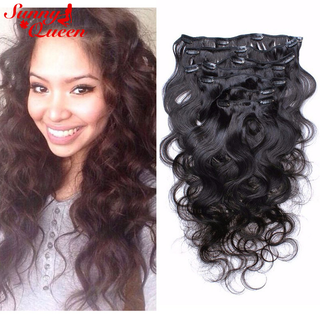 Aliexpress Buy Clip In Human Hair Extensions 8a Peruvian Body