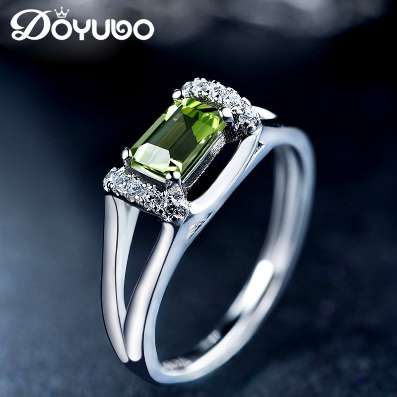 DOYUBO Luxury Solid Silver Olivine Stone Rings For Women & Men Adjustable Size 925 Sterling Silver Rings Precious Jewelry VB051