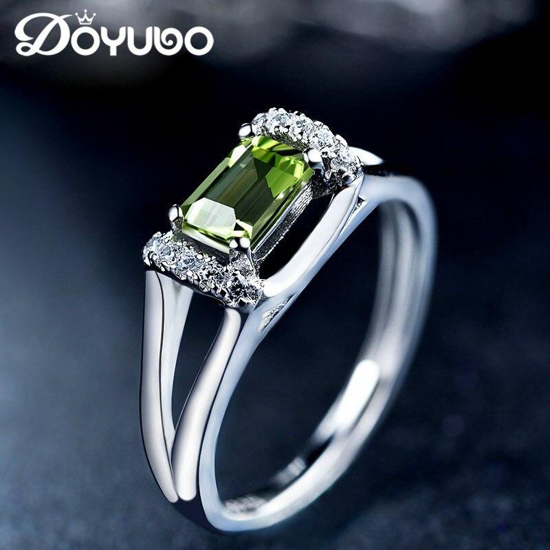 DOYUBO de luxe en argent massif Olivine pierre anneaux pour femmes et hommes taille réglable 925 en argent Sterling anneaux bijoux précieux VB051