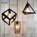 Frete grátis AC96-250V 3 Do Vintage preto Antigo Gaiola de ferro Pingente de Luz E27 Edison filamento Industrial dispositivo elétrico de iluminação