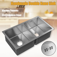 76x43x23cm Handmade Kitchen Square Sink Stainless Steel Brushed Double Bowl Wire Drawing Process Seamless Welding Basin Dishes