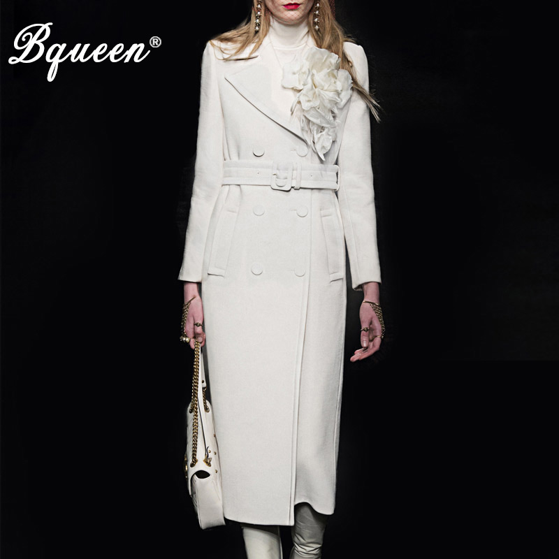 Bqueen 2017 Autumn & Winter New Fashion Turn-down Collar Double Breasted Temperament Slim White Women's Basic Woolen Coat