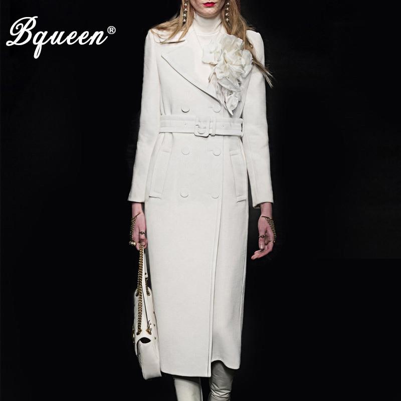 Bqueen 2017 Automne et D'hiver nouvelle mode Turn-down Col Double Breasted Tempérament Mince Blanc de Base des Femmes manteau en laine