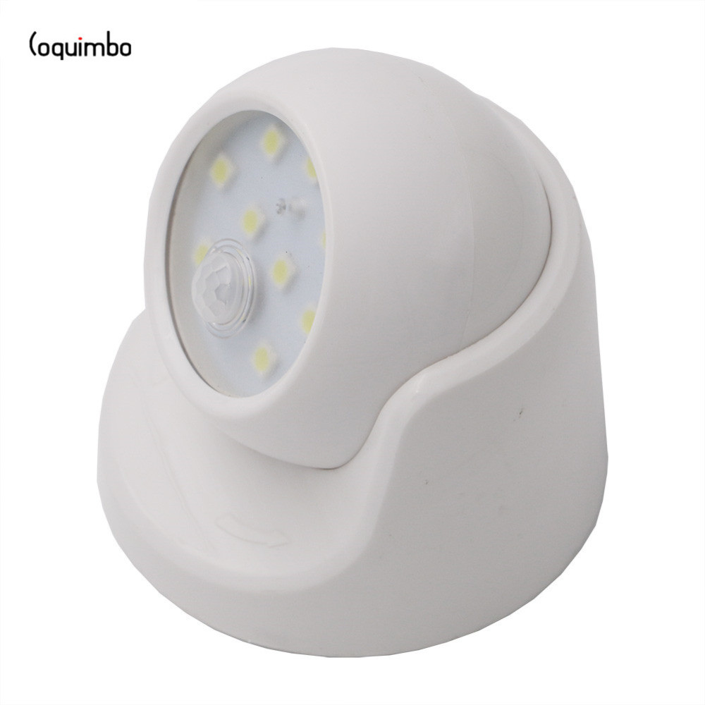 Coquimbo 9 LEDS Motion Sensor Night Light 360 Degree Rotation Portable Night Light Auto IR Infrared Luminary LED Motion Sensor ds 360 solar sensor led light black
