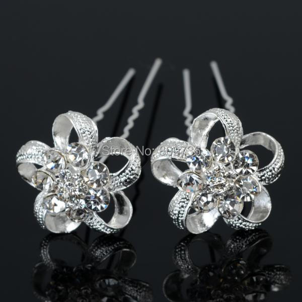 12pcs New Silver Plated Crystal Flower Weddings