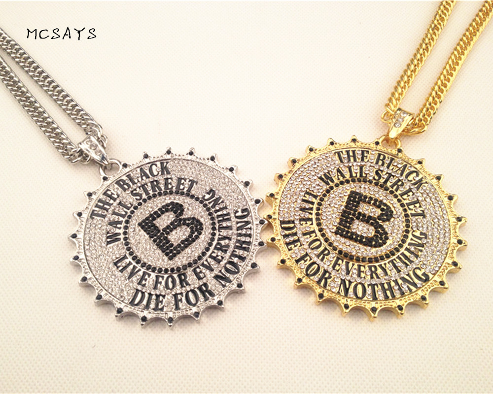 все цены на NEW Golden Black Wall Street Rhinestone Big Pendant Hip Hop Cuban Link Chain Letter B Alloy Hipster Necklace Gift Free ship