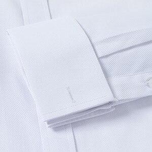 Image 3 - クラシックメンズスプレッドの襟フレンチカフドレスシャツポケットレス設計標準フィット長袖ツイル宴会結婚式シャツ