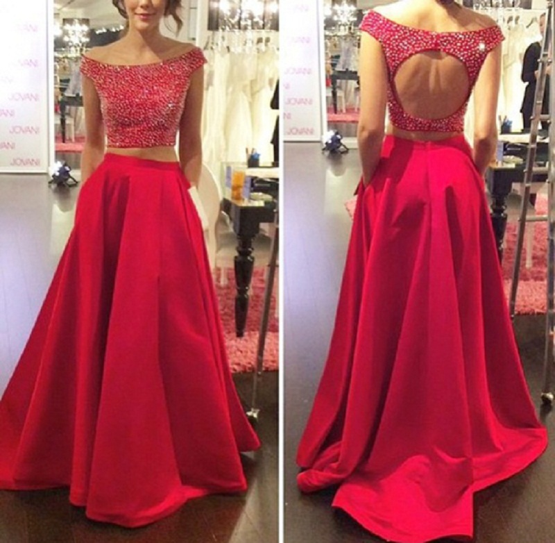 M344 Princess Style Two Pieces A-Line Prom Dress 2018 Long Graduation Dress  Beading Boat Neck Cap Sleeves Open Back Sweep Train 0e4d313a09a0