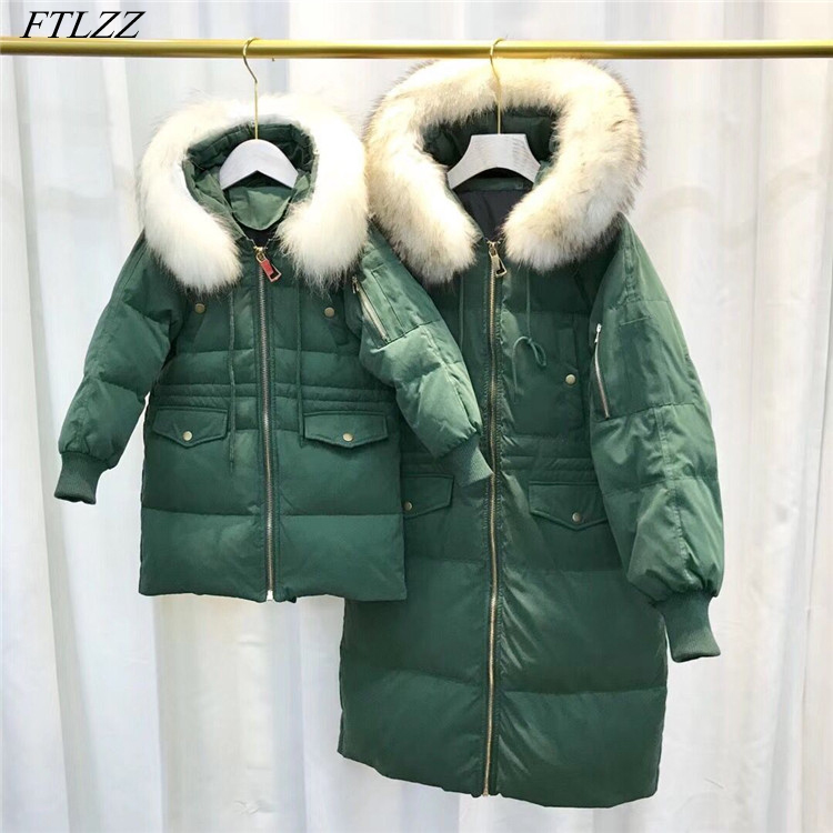FTLZZ Winter Women Duck Down Jacket Family Mother & Daughte Real Raccoon Fur Collar Long Parkas Girls Hooded Snow Outwear цена