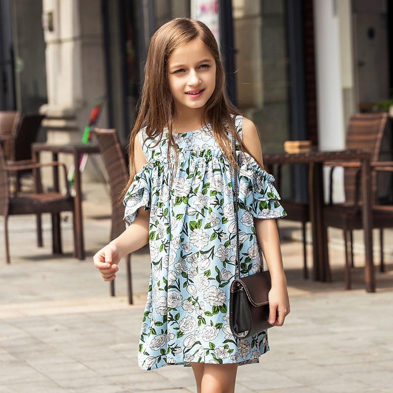 Teen Girls Summer Dress Floral Print Off -shoulder Fashion Chiffon Dress Bohemian Holiday Kids Dress 165 160 150 140 цена