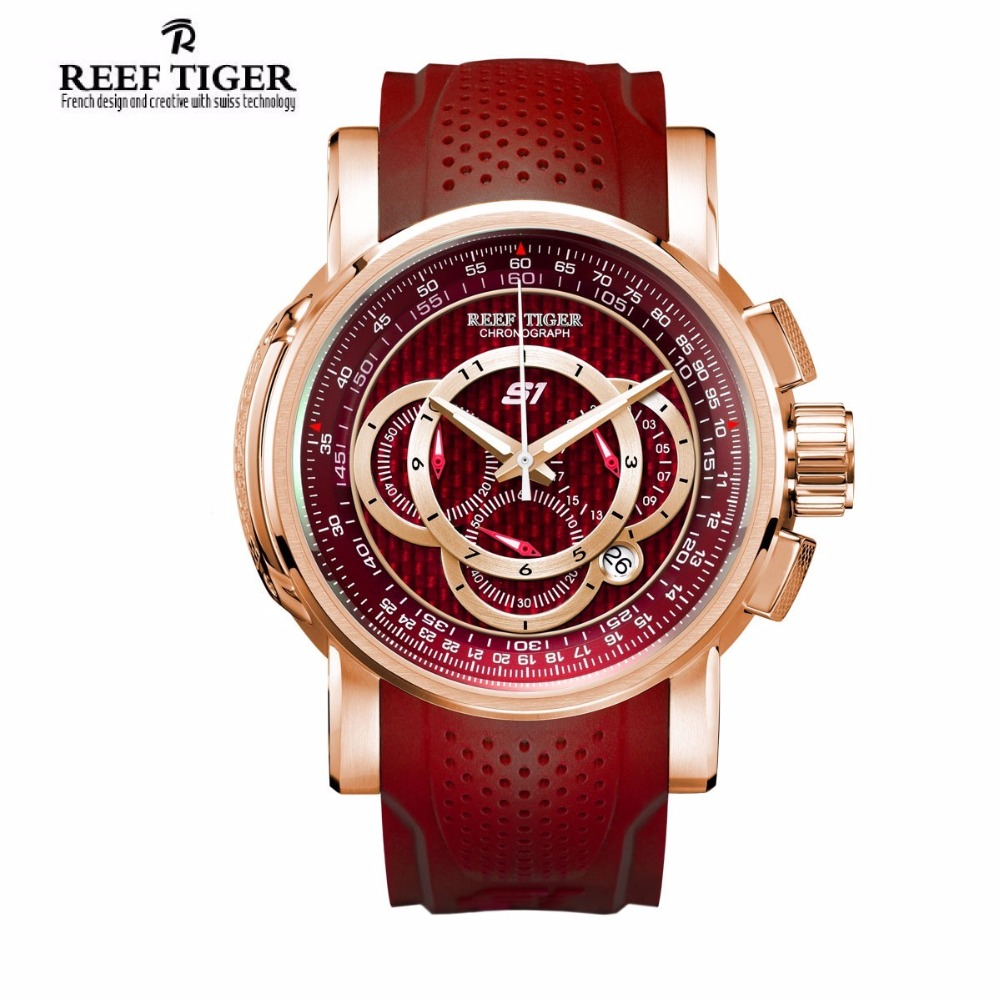 Reef Tiger New Luxury Brand Sport Quartz Men Watches Chronograph Date Rose Gold Watch Rubber Strap Waterproof Relogio Masculino reef tiger brand men s luxury swiss sport watches silicone quartz super grand chronograph super bright watch relogio masculino