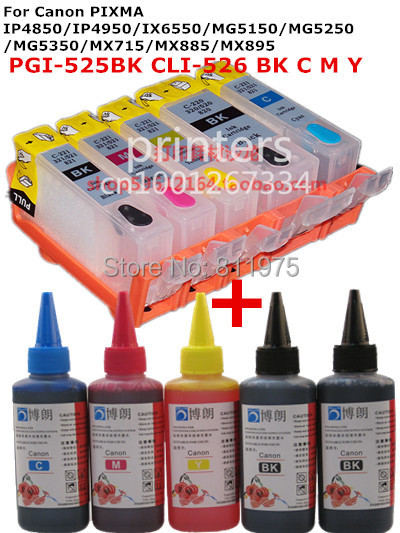 For CANON IP4850 IP4950 IX6550 MG5150 MG5250 MX715 MX885 MX895 MG5350 PGI-525 refillable ink cartridge+ 5 Color Dye Ink 100ml