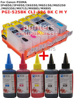 For CANON IP4850 IP4950 IX6550 MG5150 MG5250 MX715 MX885 MX895 MG5350 PGI 525 refillable ink cartridge+ 5 Color Dye Ink 100ml