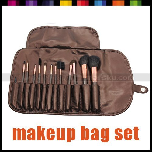 13 Pcs GOAT HAIR Pro Professional Cosmetic Eyeshadow Brushes Powder Blush MINERAL Makeup Make up Kit Set + Leather Case Bag 2923