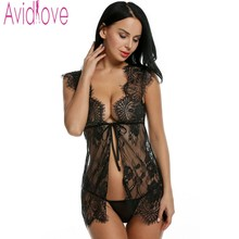 Avidlove Women Sexy Lingerie Dress Floral Lace See-through Erotic Nightwear Babydolls Sexy Plus Size Lingerie Nightgown Pajamas