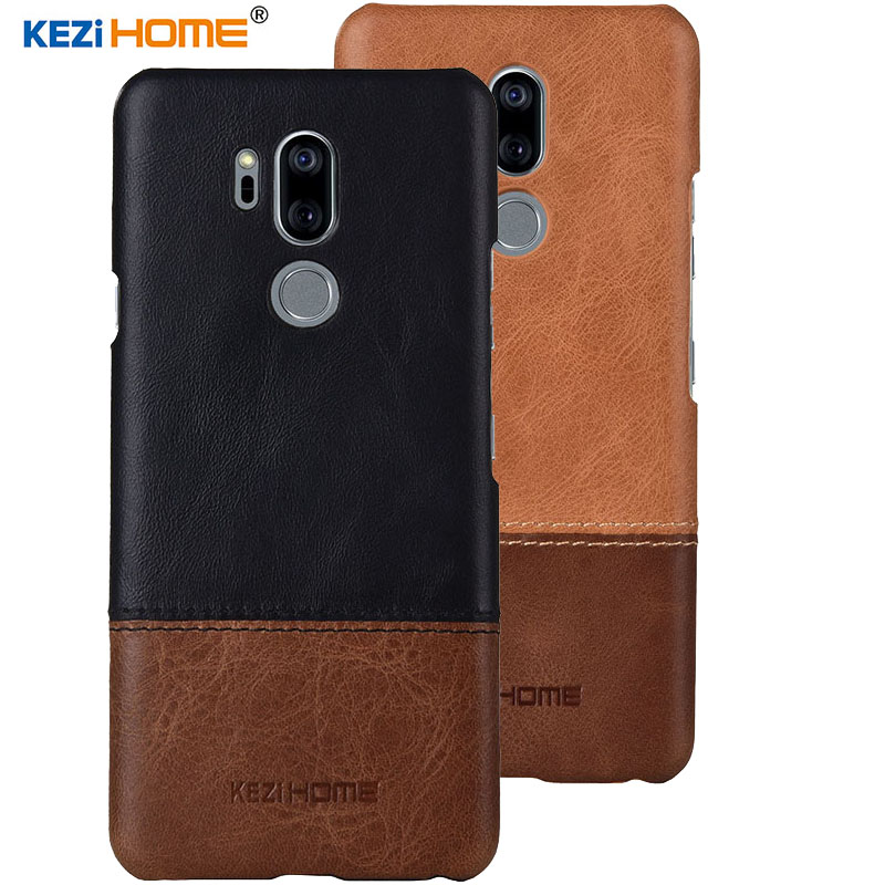 Kezihome Cell Phone Case for LG G7 ThinQ Cover 6.1'' Back Genuine leather + PC Armor Case For LG G7 Case High quality