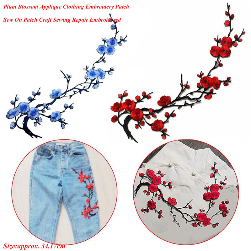 Hot Plum Blossom Flower Applique Clothing Embroidery Patch Fabric Sticker Iron On Sew On Patch Craft Sewing Repair Embroidered