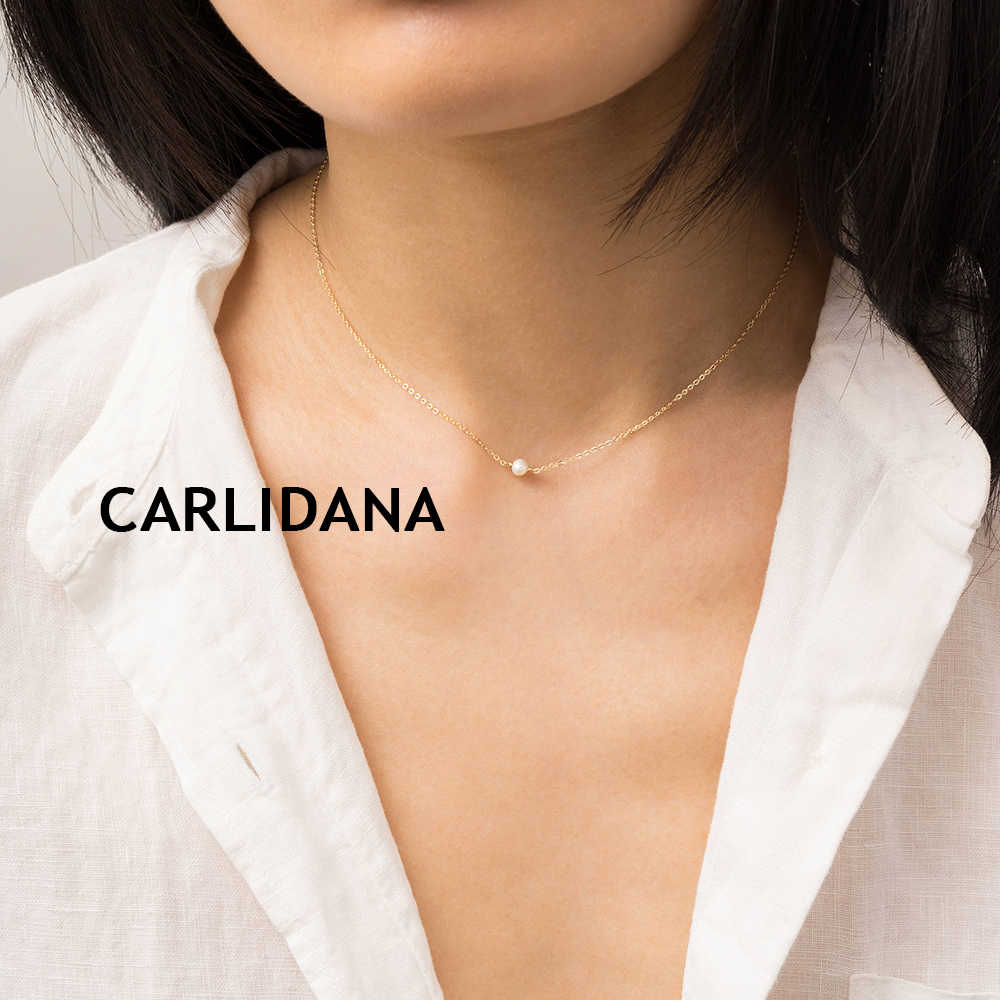 CARLIDANA Double Layered Necklace for women Dainty Stainless Steel Necklace women Chic Simulated-pearl Pendant Necklace