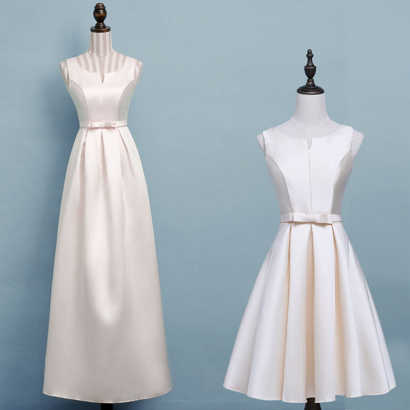 Image 2 - ASL XB#Boat Neck Champagne long Bridesmaid Dresses wedding party dress gown prom women's fashion cheap wholesale Women clothing-in Bridesmaid Dresses from Weddings & Events