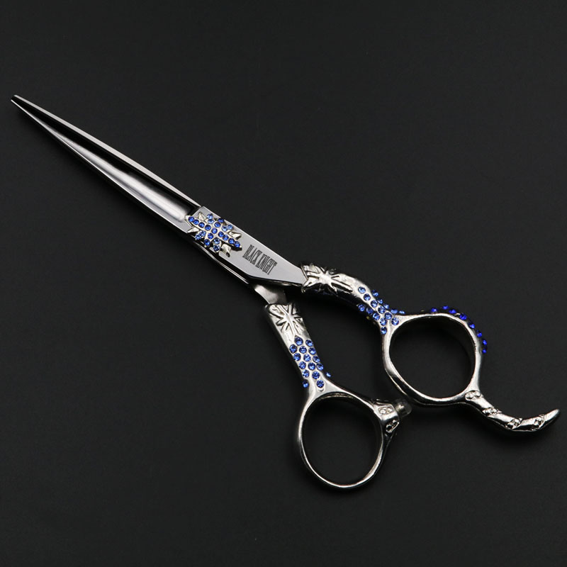 ФОТО 6 inch Professional Hairdressing scissors Cutting Barber shears High quality Personality Blue diamonds styles
