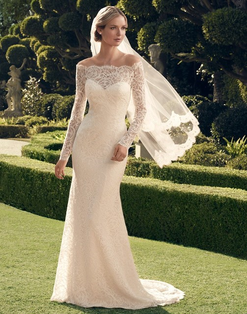 Unforgettable Bateau Neck On Up Back Long Sleeve Lace Wedding Dresses Online Elegant Bridal Gowns Abito