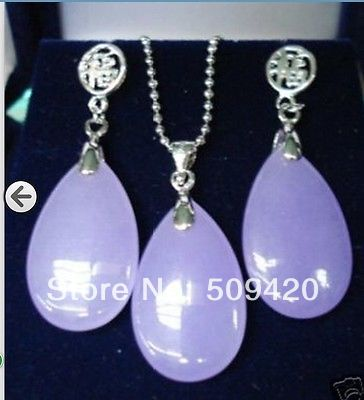 Free Shipping Wholesale>>>Jewelry light purple stone pendant necklace earring sets +free Chain