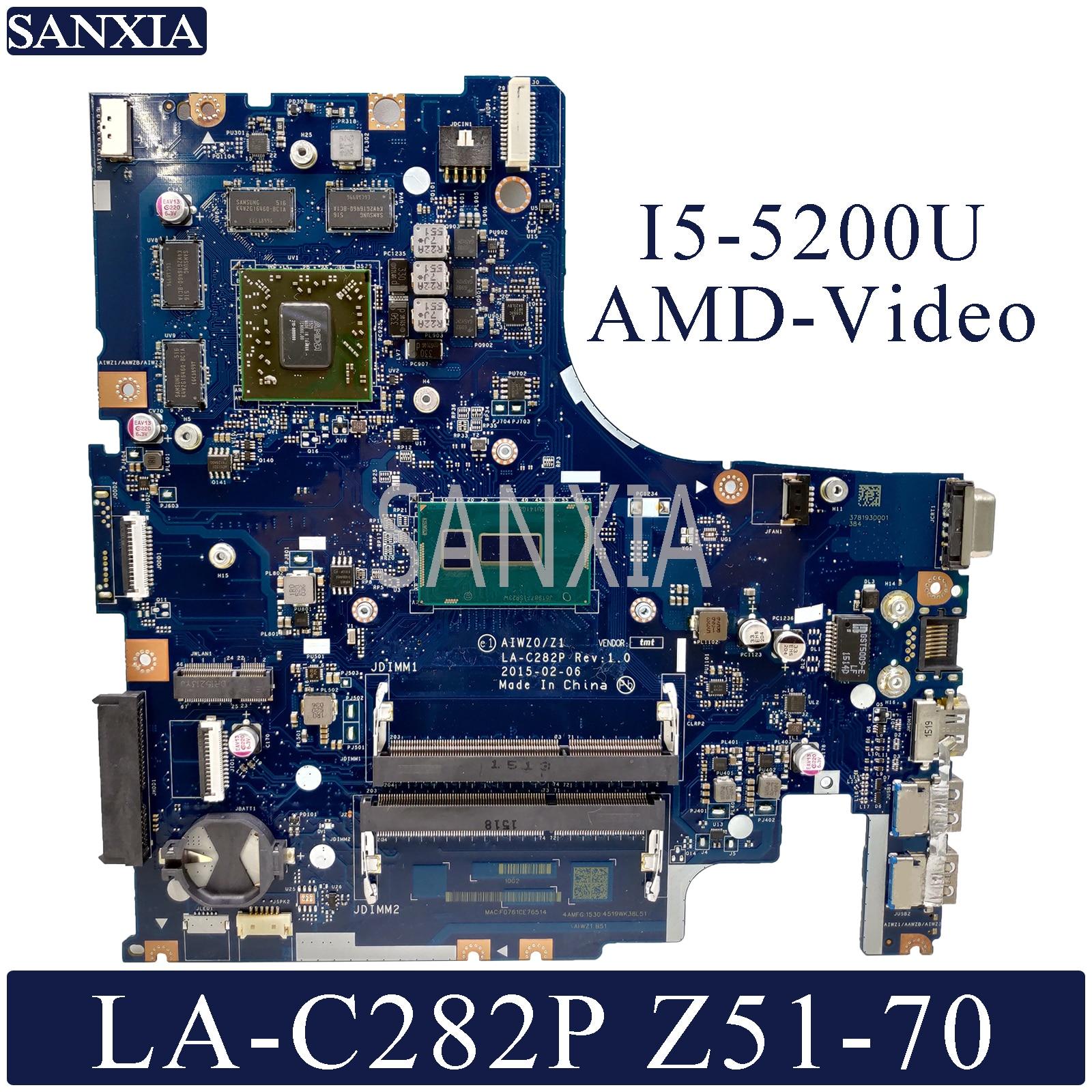 KEFU LA C282P Laptop motherboard for Lenovo Ideapad Z51 70 original mainboard I5 5200U AMD Video