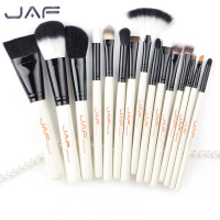 JAF 15pcs Set Portable Size Women Facial Makeup Brushes Set Wooden Handle Facial Cosmetic Blush Foundation