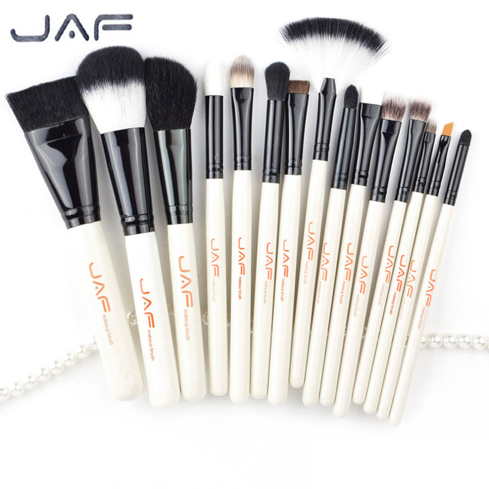 JAF Brand 15pcs/set High Quality Professional Makeup Brushes Set Facial Make Up Blush Powder Foundation Cosmetic Brush Tool jessup 5pcs black gold makeup brushes sets high quality beauty kits kabuki foundation powder blush make up brush cosmetics tool