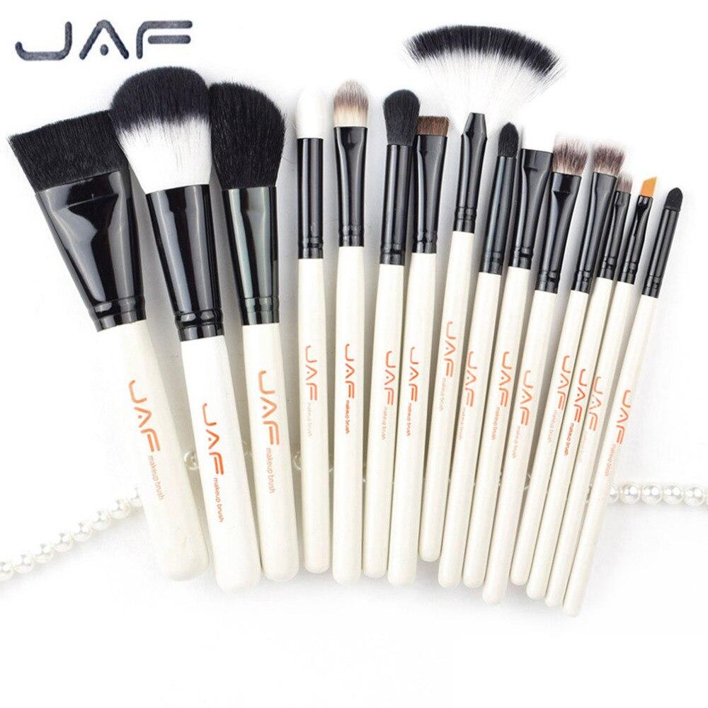 JAF 15pcs Set Portable Size Women Facial Makeup Brushes Set Wooden Handle Facial Cosmetic Blush Foundation