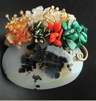 Free Shipping Natural semi precious stone Brooch Pendant With Coral peacock stone and freshwater pearls Free Shipping