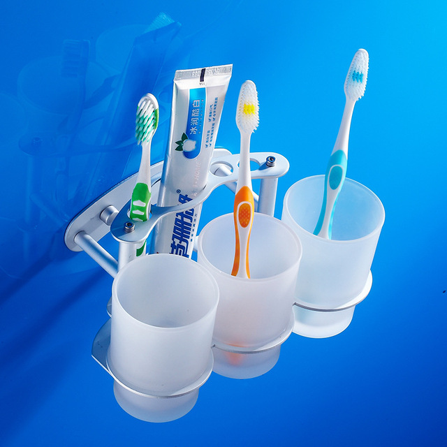 Charmant Space Aluminum Toothbrush Mouthwash Cup Holder Bathroom Tumbler Storage  Rack Bathroom Accessories