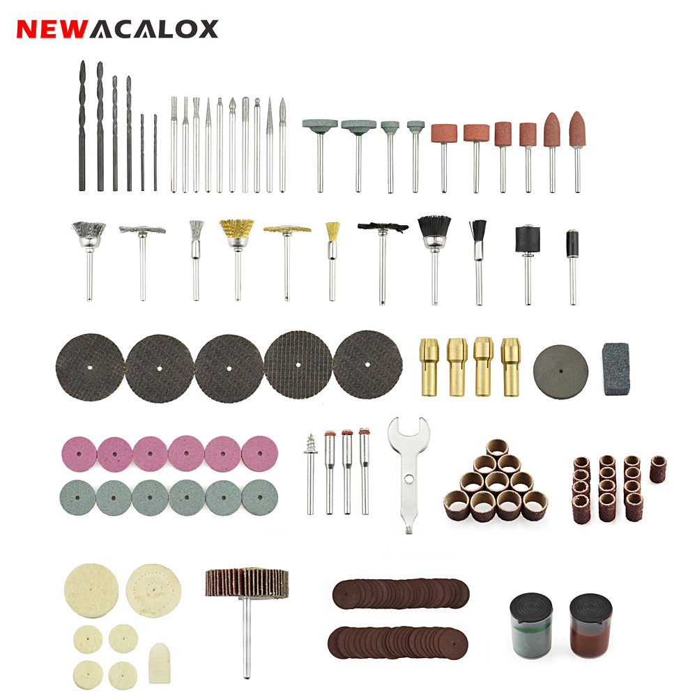 NEWACALOX Abrasive Accessories Tool Kit 100pc/147pc Dremel Rotary Tool Accessory Bit Set For Cutting Polishing Grinding Machine