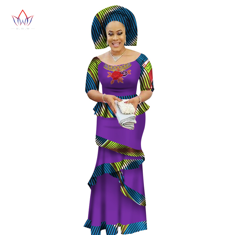 2017 BRW Private Custom African Dress Bazin Riche Women Dress Suit Half Sleeve Tops and Long Print Skirt Large Size M-6XL WY2412