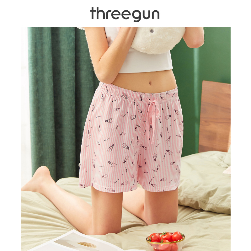 THREEGUN 100% Cotton Women's Pajama Pants 2019 New Printed Lace Cotton Ladies Sleep Bottoms Women Loose Elastic Waist Home Pants