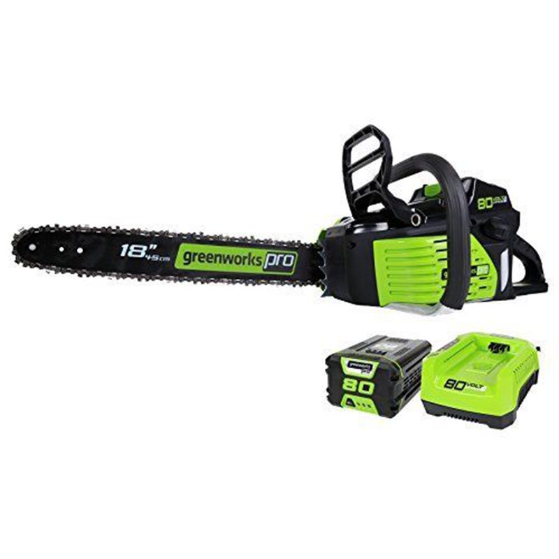 Gasoline Power Chain Saw GreenWorks Pro GCS80420 80V 18-Inch Cordless Chainsaw, 4Ah Li-Ion Battery And Charger Included