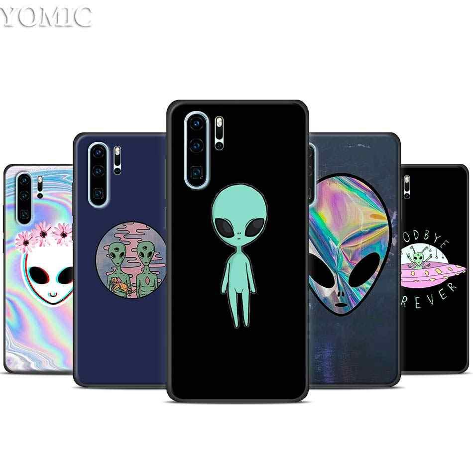 Alien Glauben UFO ET nette Schwarz Fall für Huawei P30 20 Pro P10 P20 P30 Lite Mate 10 20 Lite P Smart Plus Fall