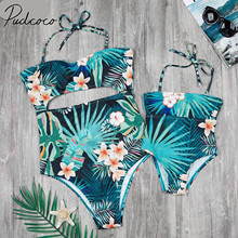 2018 Brand New Family Matching Swimsuit Mother Daughter Floral Swimwear Leaves Swimsuit One Piece Bikini Sets