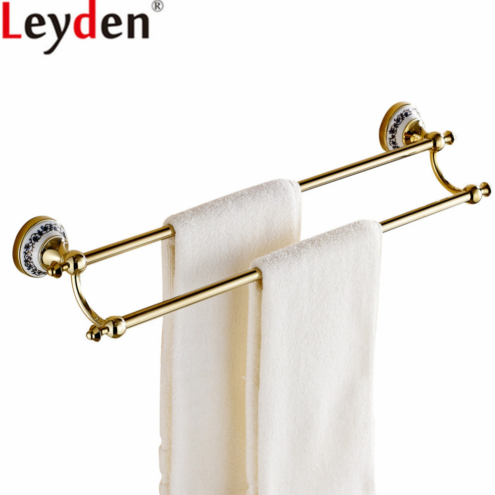 Leyden Wall Mounted Brass and Creamic Base Gold Double ToweL Bars Bathroom Towel Holders Rails For