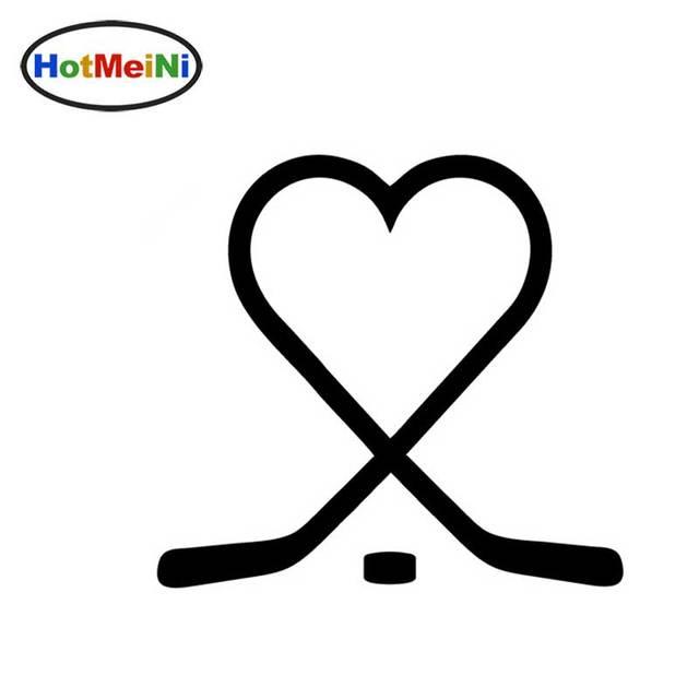 Hockey Sticks Heart Puck Love Play Ice Vinyl Decal