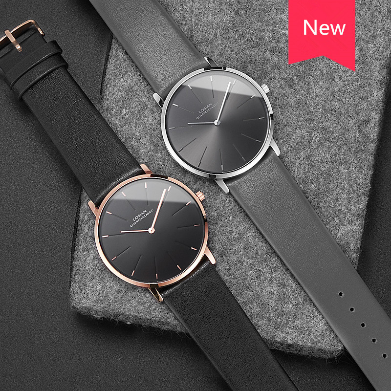 Losian Luxury Watches Male New Fashion Casual Waterproof Quartz Wristwatches Leather Band Jam Tangan Uhr Men Watch Tops Quality