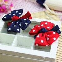 1pcs Newly Design Fashion Grosgrain Children Headdress Girls Cute Hair Clips Headwear Big Bow Dot Hairpins