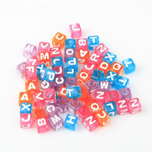 100pcs Alphabet Colors Spacer Loose Carved Cube Acrylic Beads With Letters Supplies For Jewelry Making Diy Accessories Wholesale