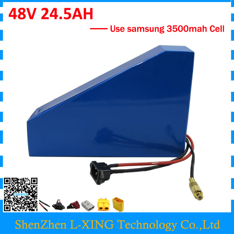 Free customs duty 2000W 48V 24.5AH Lithium battery 48V 25AH ebike battery 48 v Triangle shape use samsung 3500mah cell 50A BMS ebike battery 48v 15ah lithium ion battery pack 48v for samsung 30b cells built in 15a bms with 2a charger free shipping duty